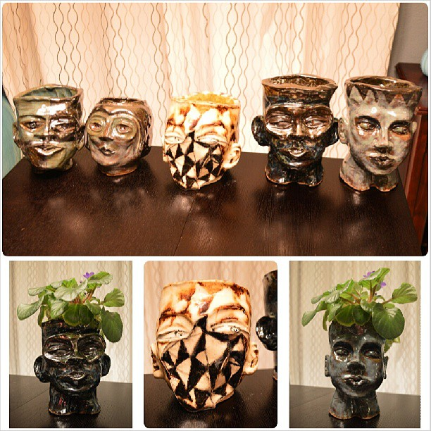Hector made some head pots... they are for sale!!!! Get yours now! #boldoart #artstagram #art #artist #painting #sculpture #headpots #planters #claywork