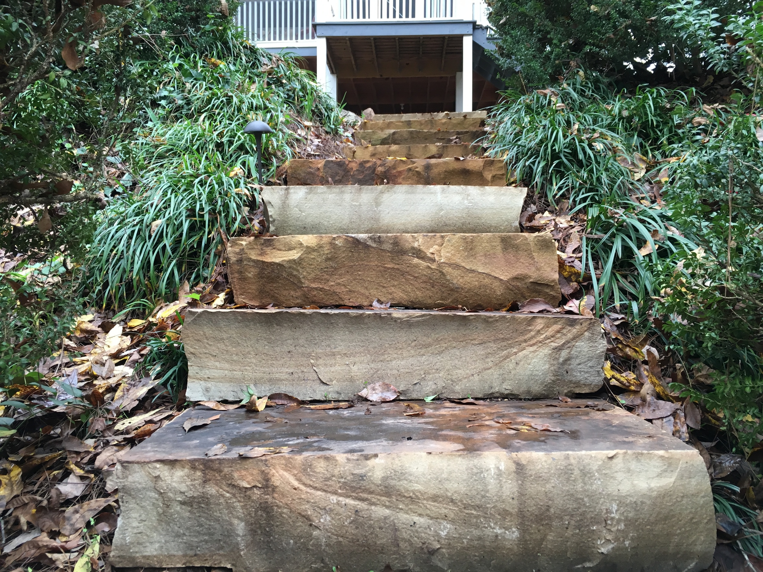 These massive stair treads give great access to both terrace levels.