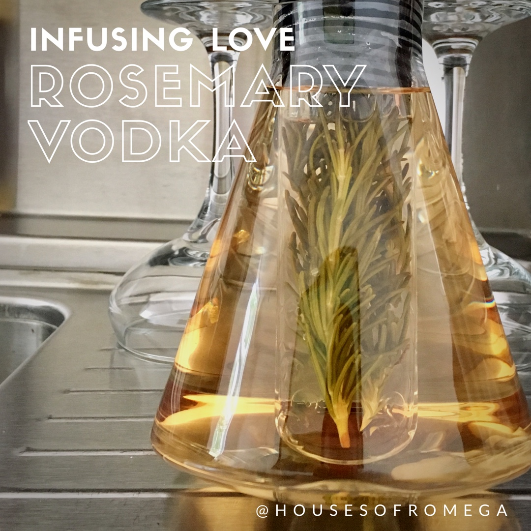 Rosemary Infused Vodka is easy to do! Simply drop washed rosemary stems into vodka and leave for 4-5 days. I use a small infuser, but rosemary is hearty and doesn't require an infuser if you don't have one!