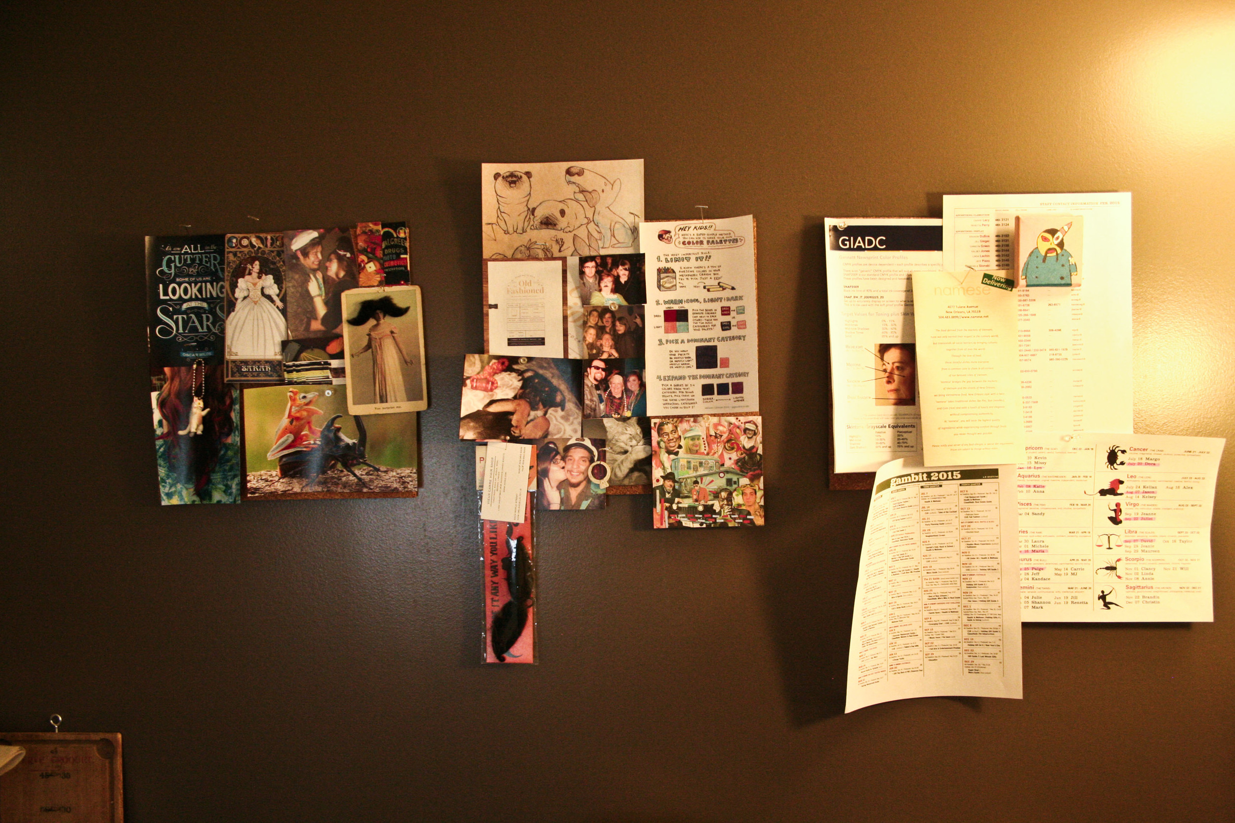 these are the three of my boards. the one on the right is my work board. left and center are my inspiration boards.