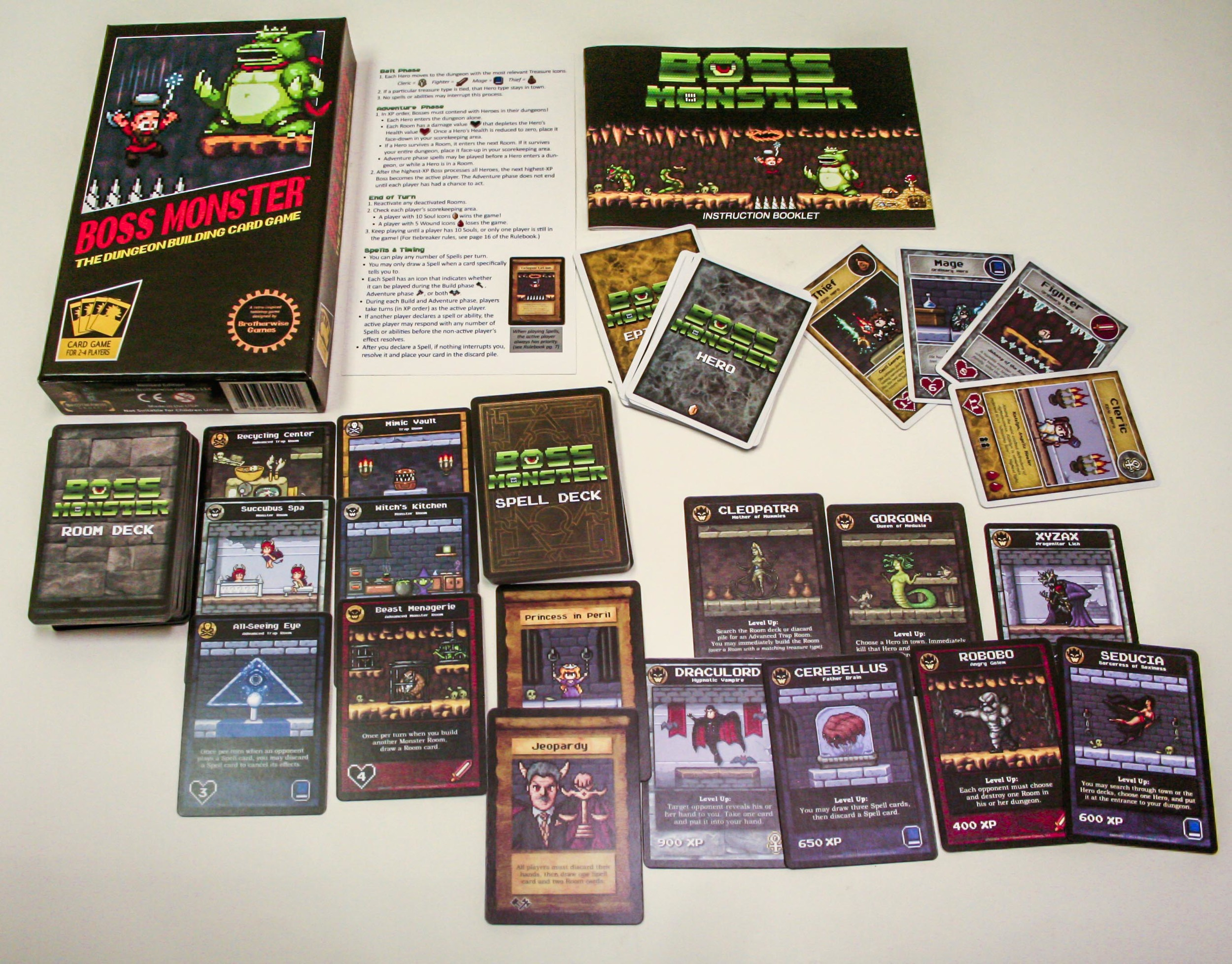 BOSS MONSTER IS A DECK BUILDING GAME, WHERE YOU PLAY THE MONSTER AND BUILD YOUR DUNGEON.