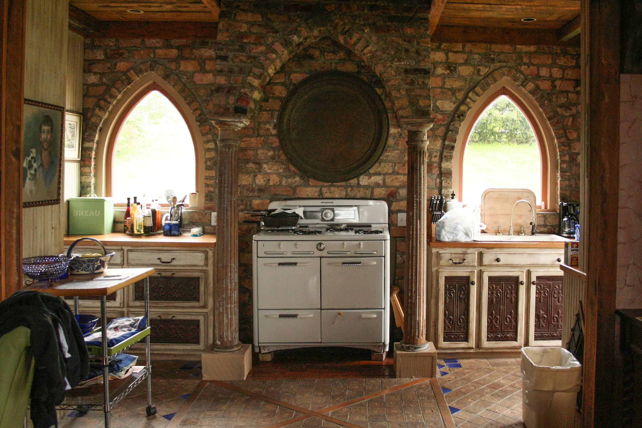 THIS IS THE REALLY COOL KITCHEN INSIDE OUR CABIN.