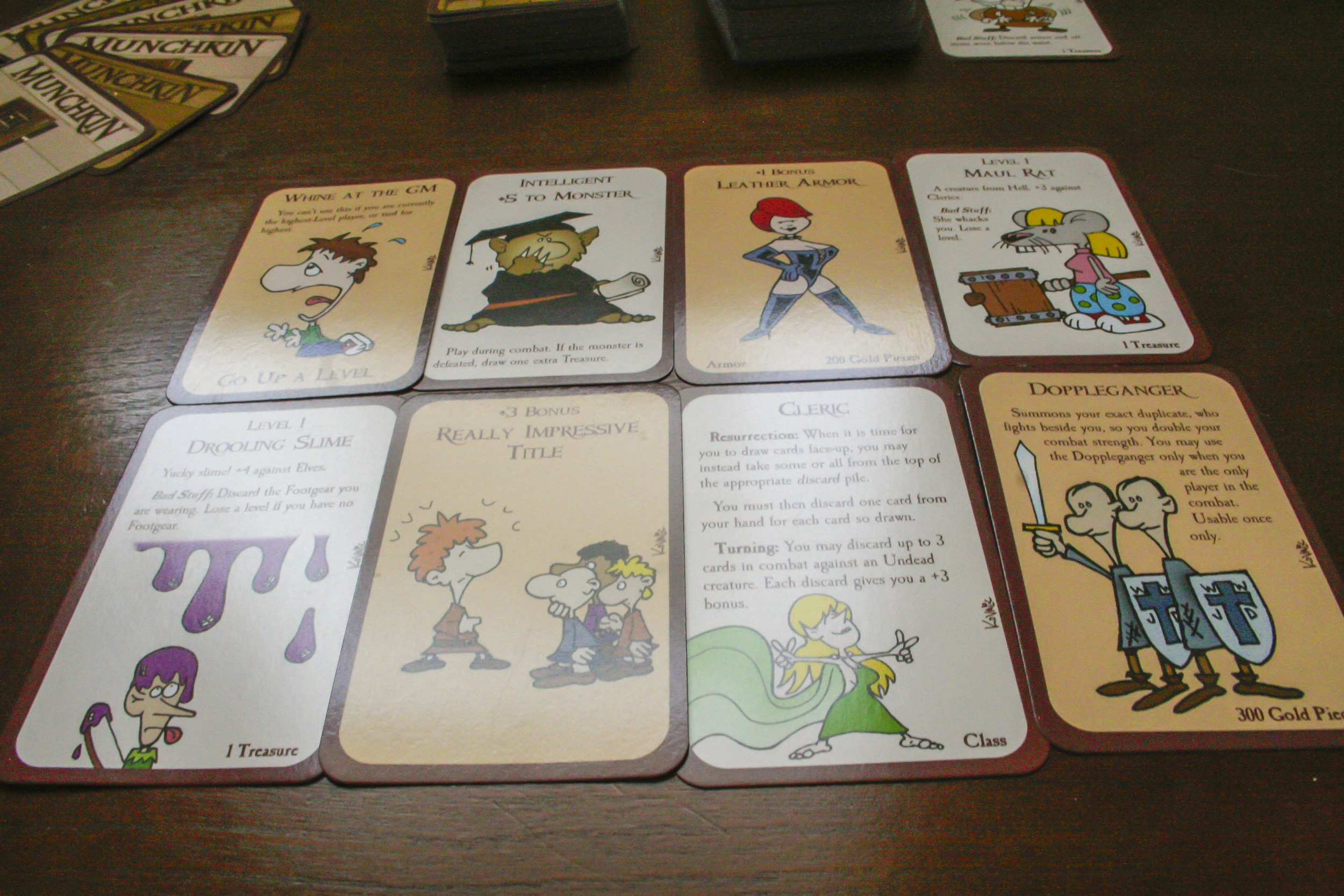 a close up of some of the cards. they are hilarious, so the first few play throughs may take some extra time, as you will want to stop and read all the cards!