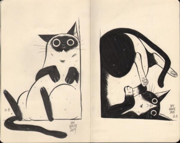 Cat illustrations by Emi Lenox.