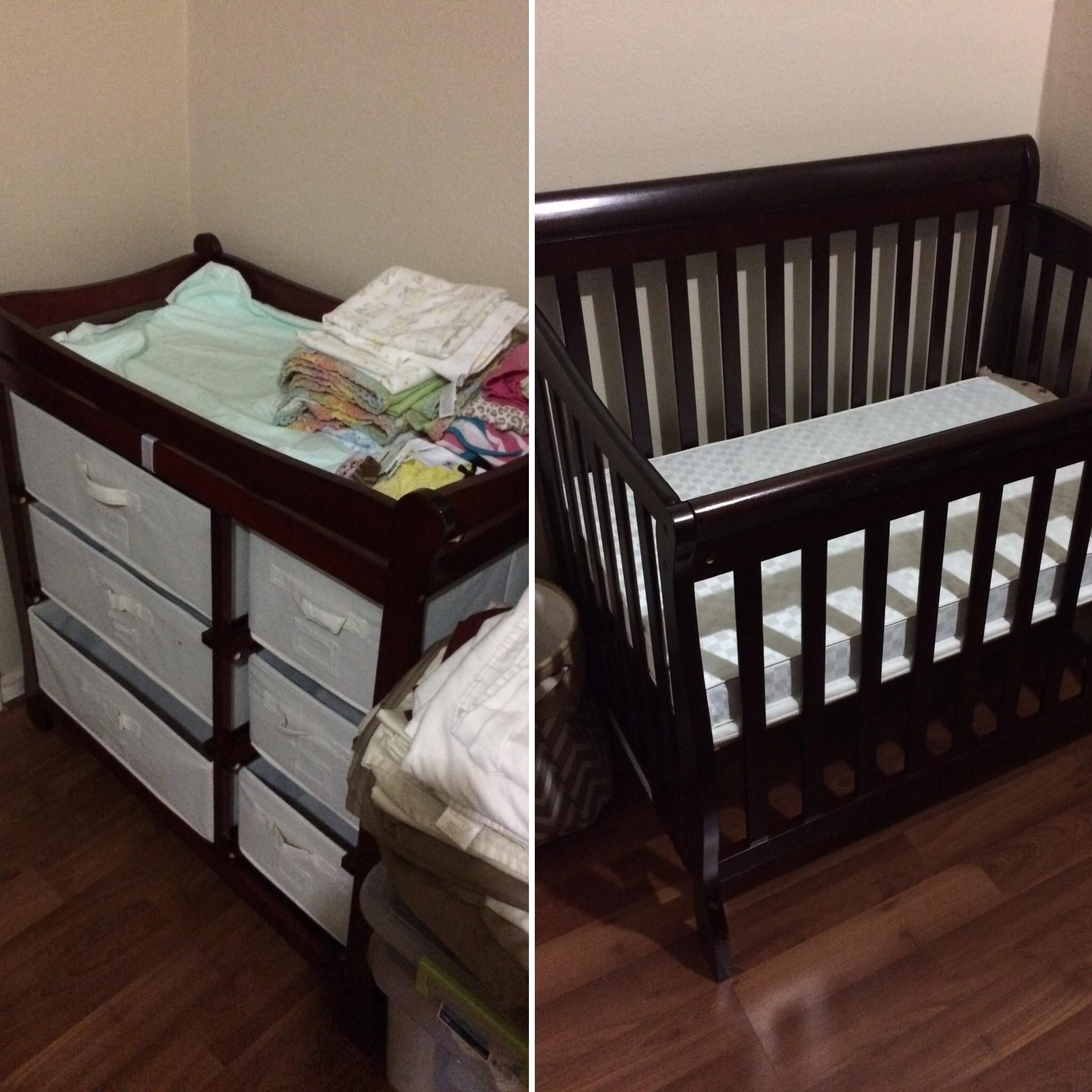 Changing table and crib have been assembled! Thanks, mainly, to Mr. LL. <3