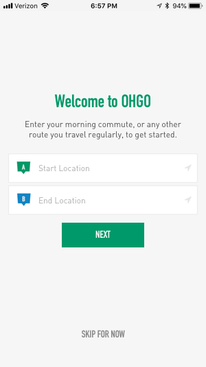 New screen welcomes users and offers them the first step in route creation