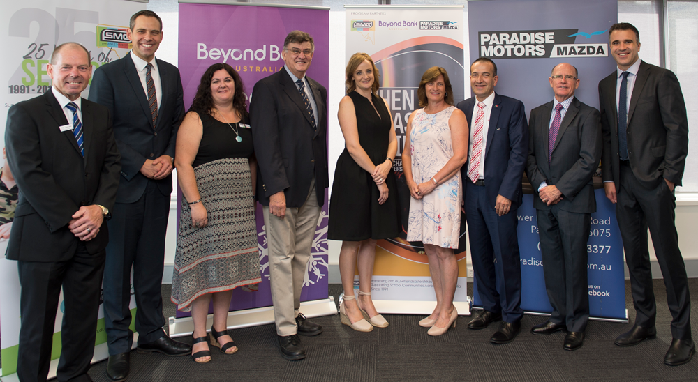 When Disaster Strikes launch at Beyond Bank. Left to Right: Kevin Bew, Paradise Motors Mazda New Car Sales Manager; Brenton Ragless, SMG Ambassador; Angela Jolly, SMG Executive Director; Rev Dr Lynn Arnold AO, SMG Chairperson; Jessica Jenke, Tarlee Primary School Parent; Tracey Butter, Tarlee Primary School Chaplain; Hon. Tony Piccolo MP; Robert Keogh, CEO Beyond Bank and Hon. Peter Malinauskas MP