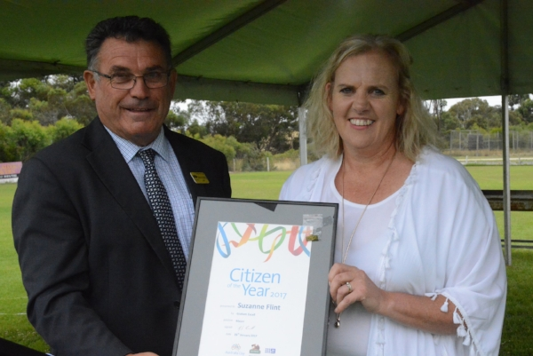 Tatiara District Council Mayor, Graham Excell presented Suzanne Flint, SMG Chaplainat Bordertown Primary School with the Citizen of the year Award in recent Australia Day celebrations.