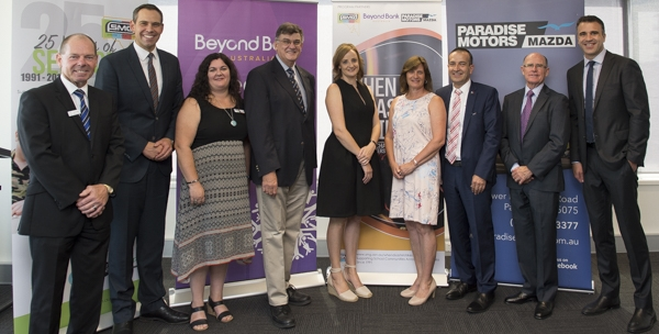 When Disaster Strikes Launch at Beyond Bank. L to R: Kevin Bew, Paradise Motors Mazda; Brenton Ragless, SMG Ambassador; Angela Jolly, SMG Executive Director; Rev Dr Lynn Arnold, SMG Chairperson; Jessica Jenke, Tarlee Primary School Parent; Tracey Butter, Tarlee Primary School Chaplain; Tony Piccolo MP; Robert Keogh, CEO Beyond Bank and Hon. Peter Malinauskas MP