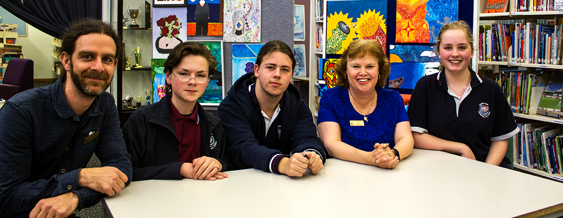 above from left: Andrew Kieselbach,PCW; Casey and Ethan, Students; Sally Johannes, Teacher and Erica, Student.