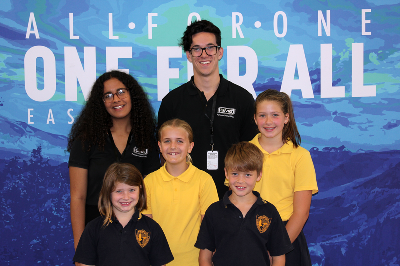 above: Life Matters presenter Alisi Tavui and Tom Bertram with Pt Noarlunga Primary School students Emilee, Lucy, Oliver, and Abigail