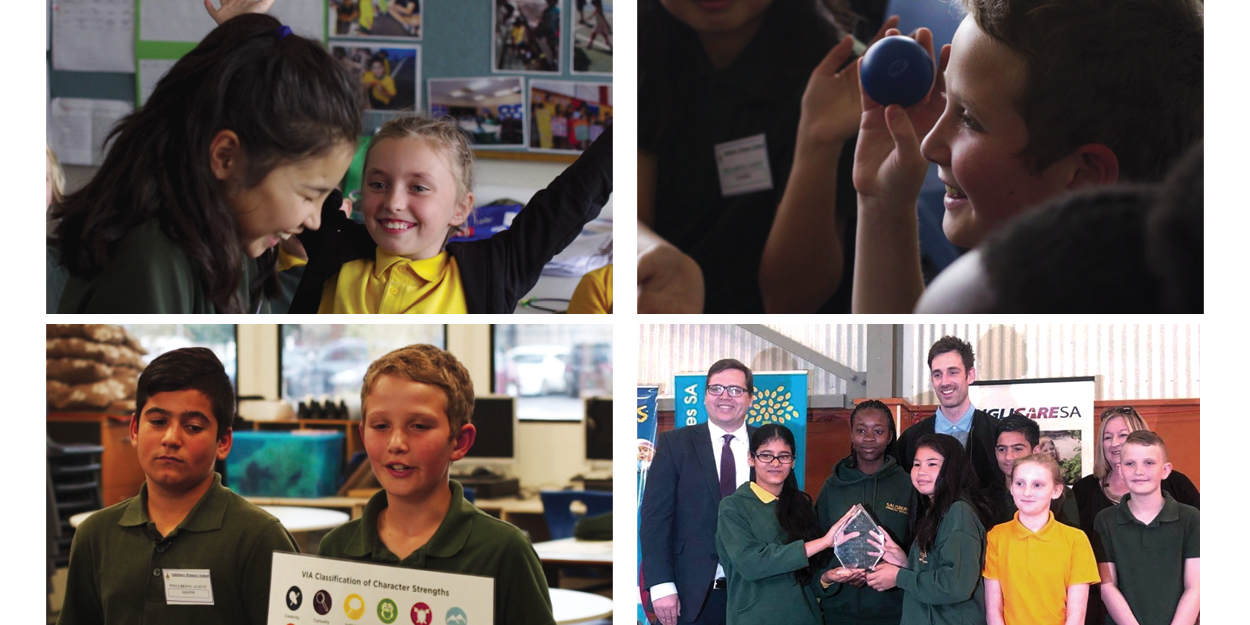Pictures: Wellbeing Agents Leadership Team and the Team receiving the award with John Gardner MP: Minister for Education, James Lenigas: SMG Wellbeing and Training Manager and Carol Scerri: Salisbury Primary School Principal
