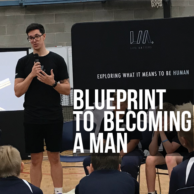Above: Tom Bertram, Life Matters Presenter delivering Blueprint to Becoming a Man to students at a regional Primary School