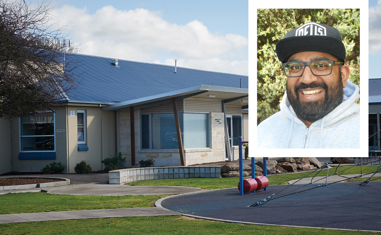 Above: Rohan Battersby: Pastoral Care Worker at Melaleuca Park Primary School. Background Image supplied by Melaleuca Park Primary School.