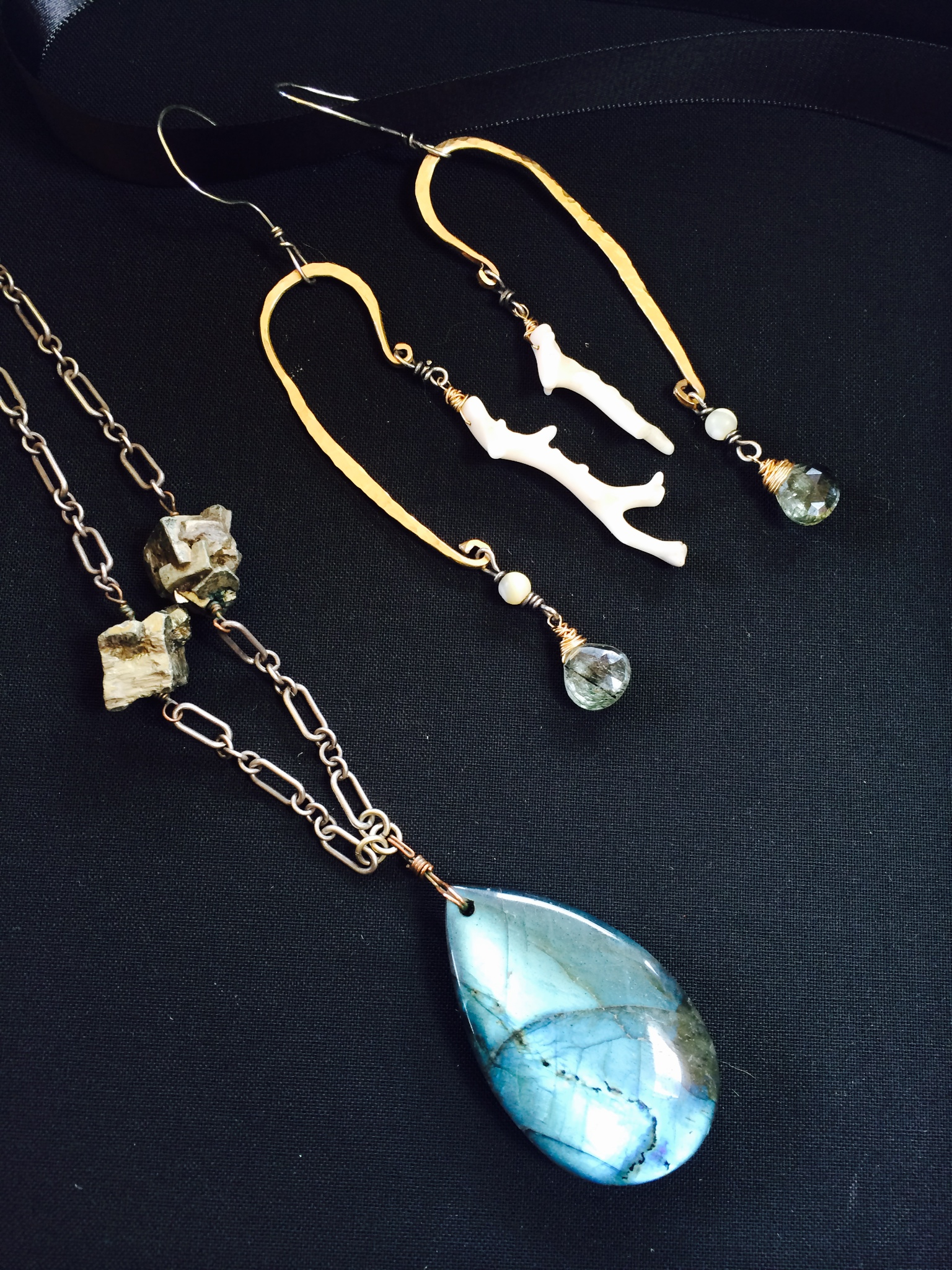 Custom Labradorite and Coral Jewelry