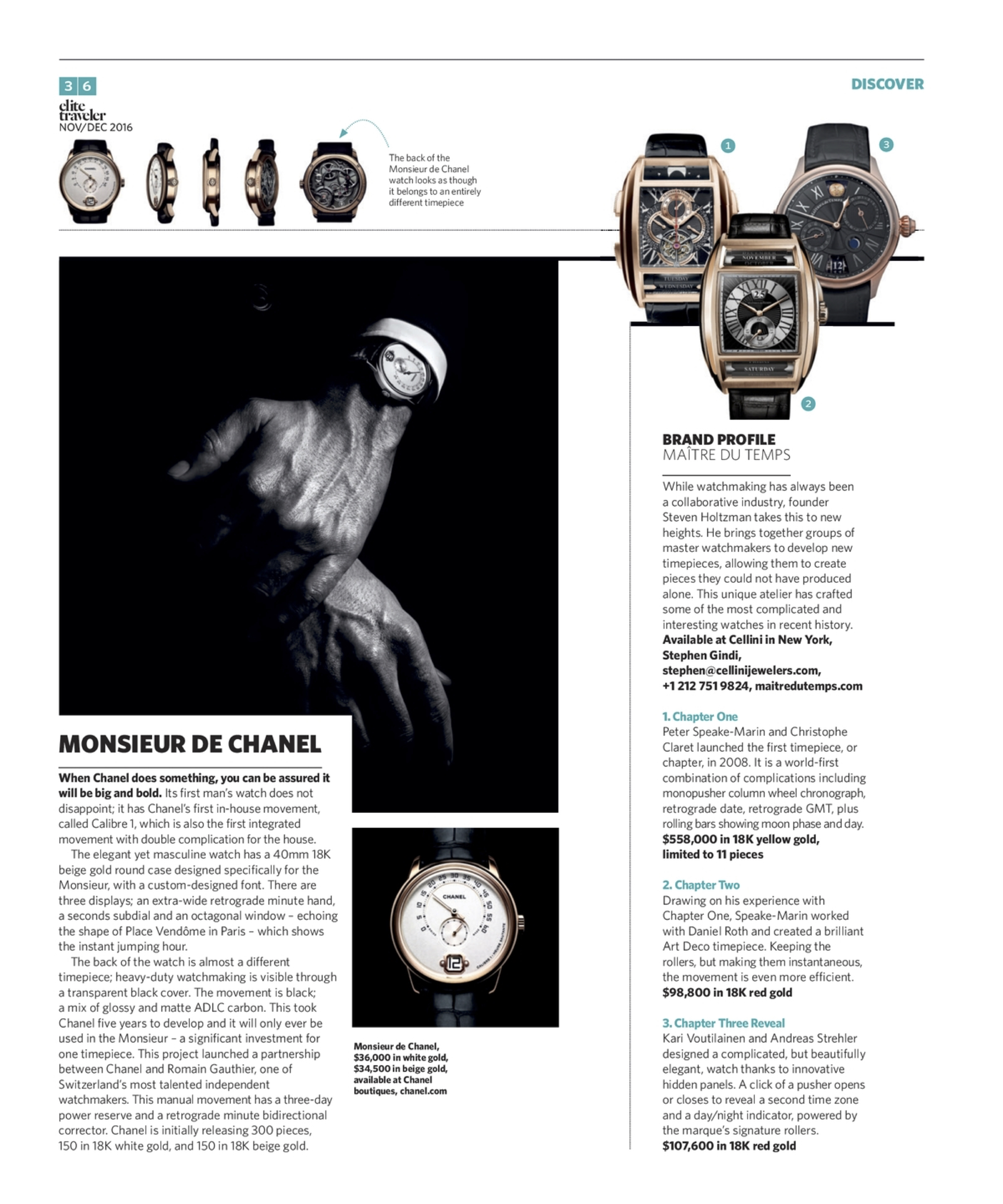 November/December 2016 | Monsieur de Chanel Launch, Maître du Temps Profile