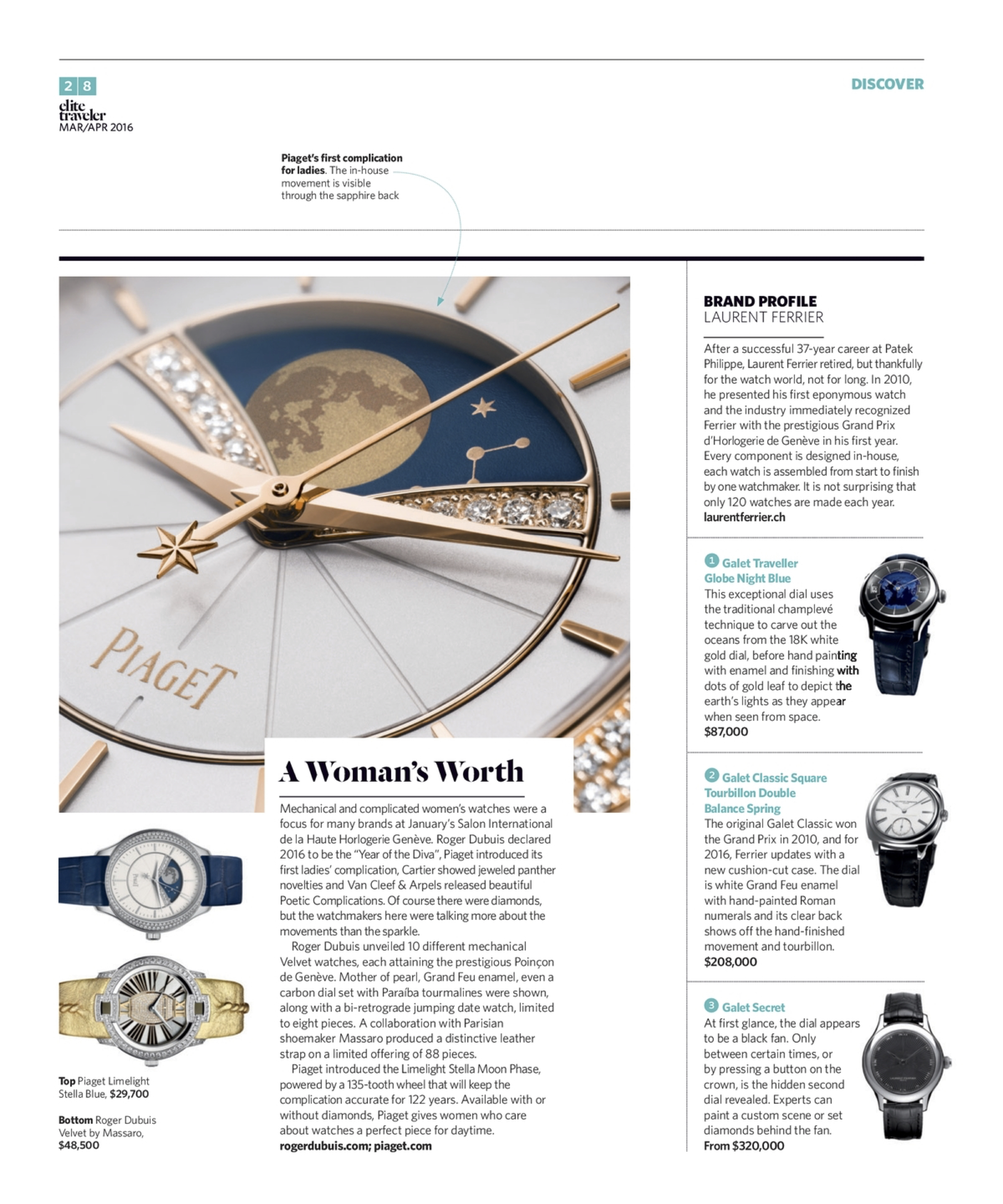 March/April 2016 | Roger Dubuis, Piaget, Laurent Ferrier Profile