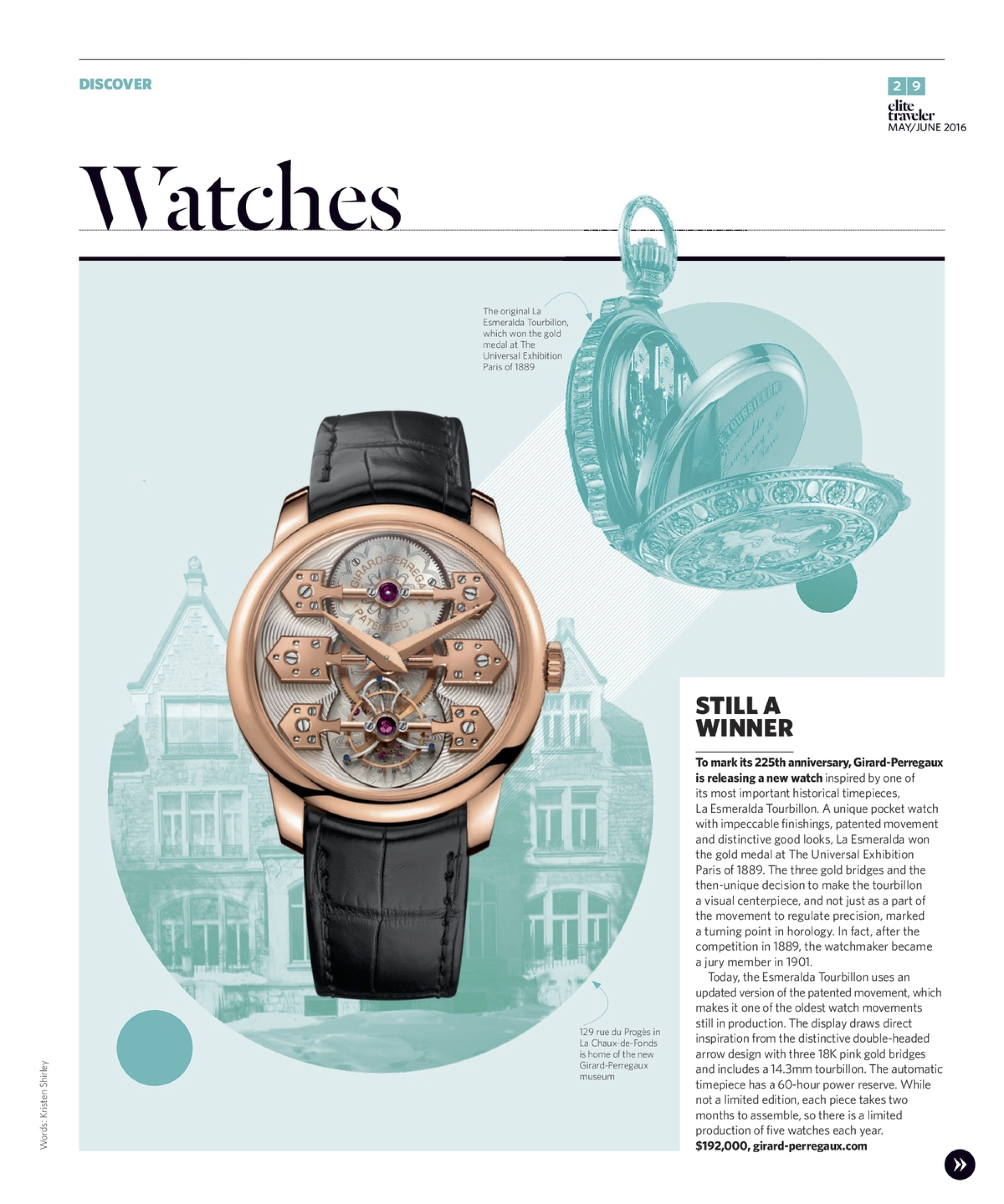 May/June 2016 | Girard-Perregaux La Esmeralda Tourbillon