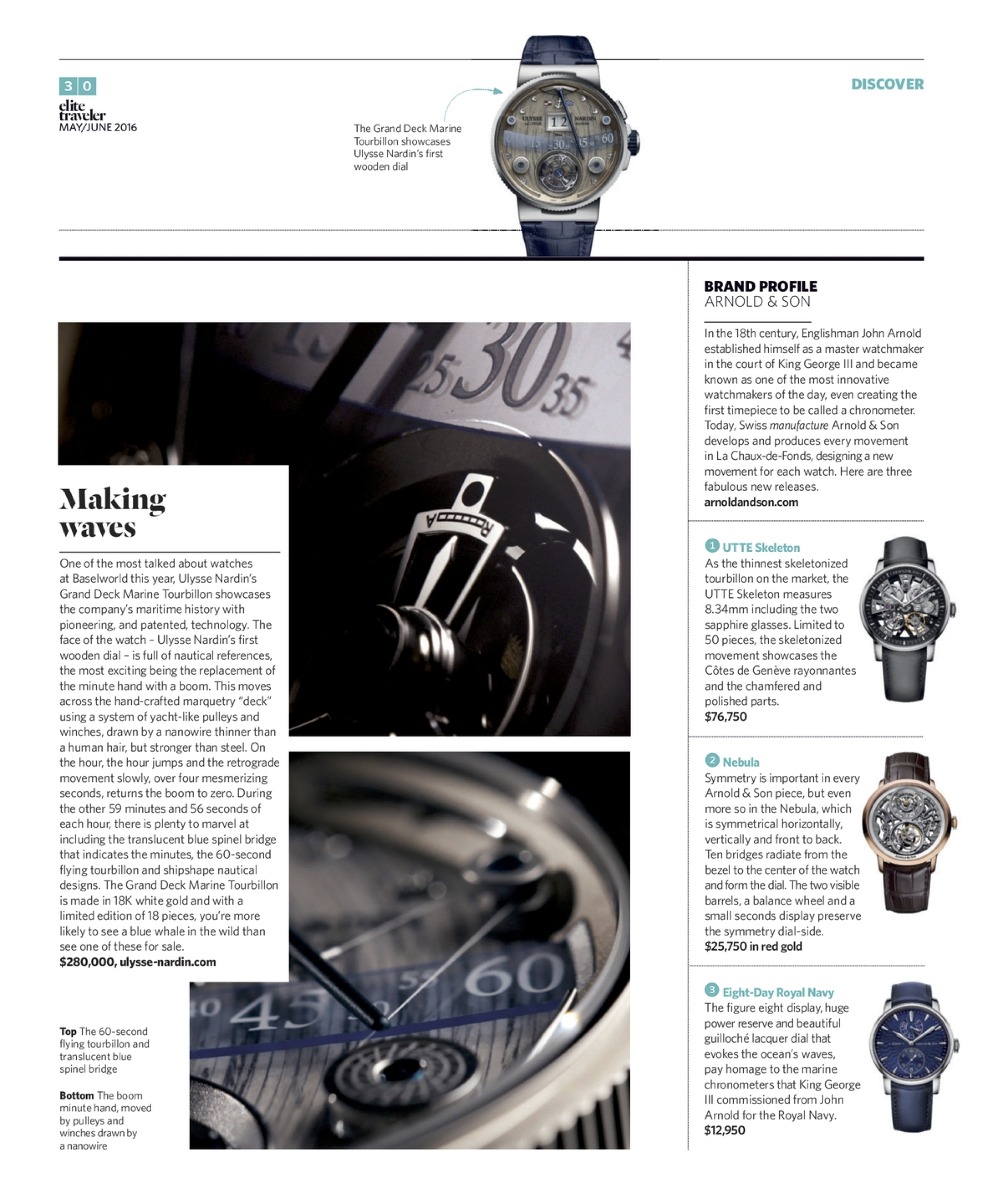 May/June 2016 | Ulysse Nardin Grand Deck Marine Tourbillon, Arnold & Son Profile