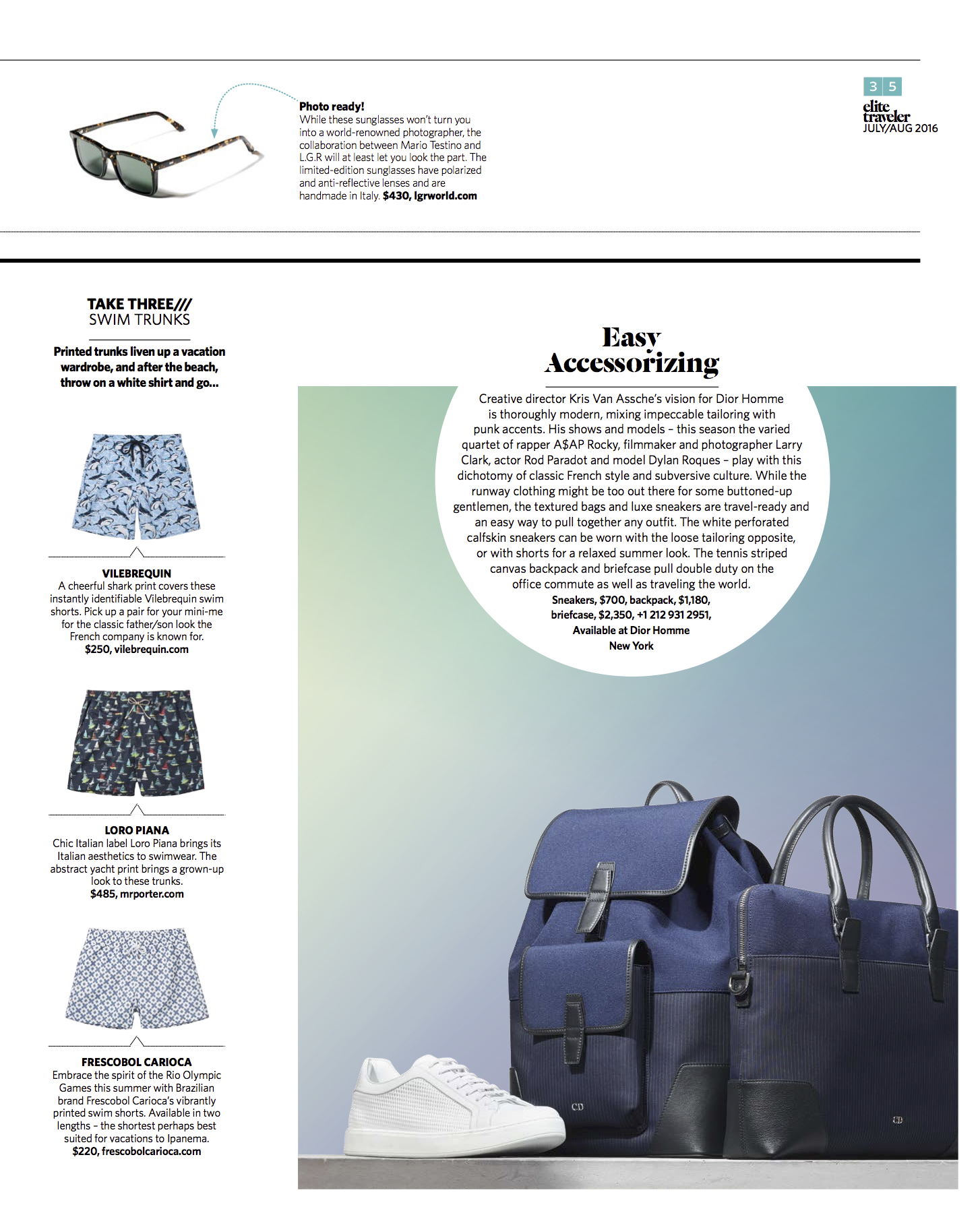 July/August 2016 | Swimwear Story, Dior Homme Accessories