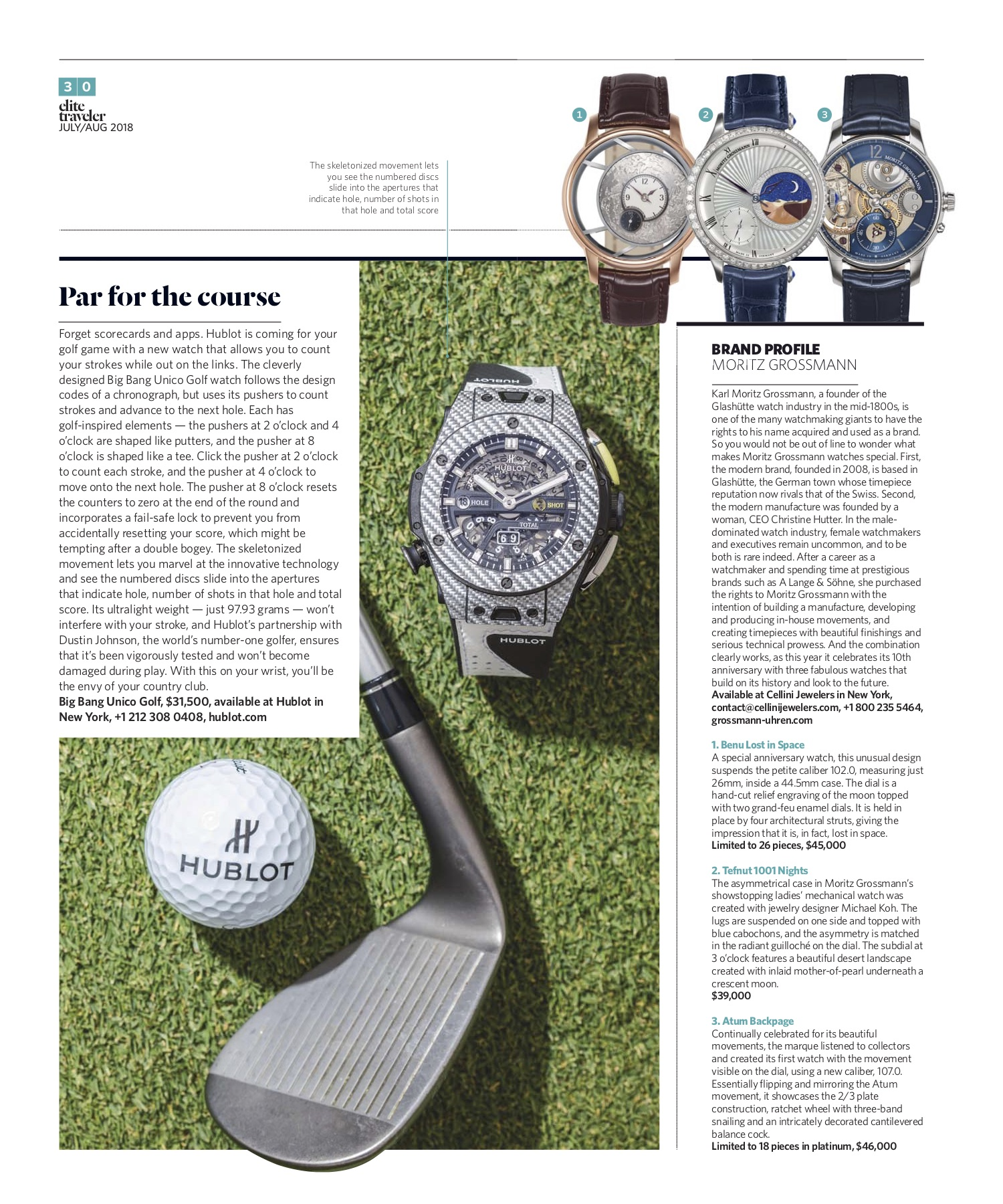 July/August 2018 | Hublot Big Bang Unico Golf, Moritz Grossmann Profile
