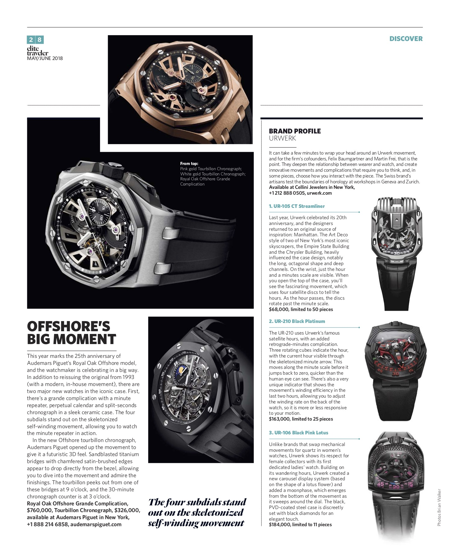 May/June 2018 | Audemars Piguet Offshore, Urwerk Profile