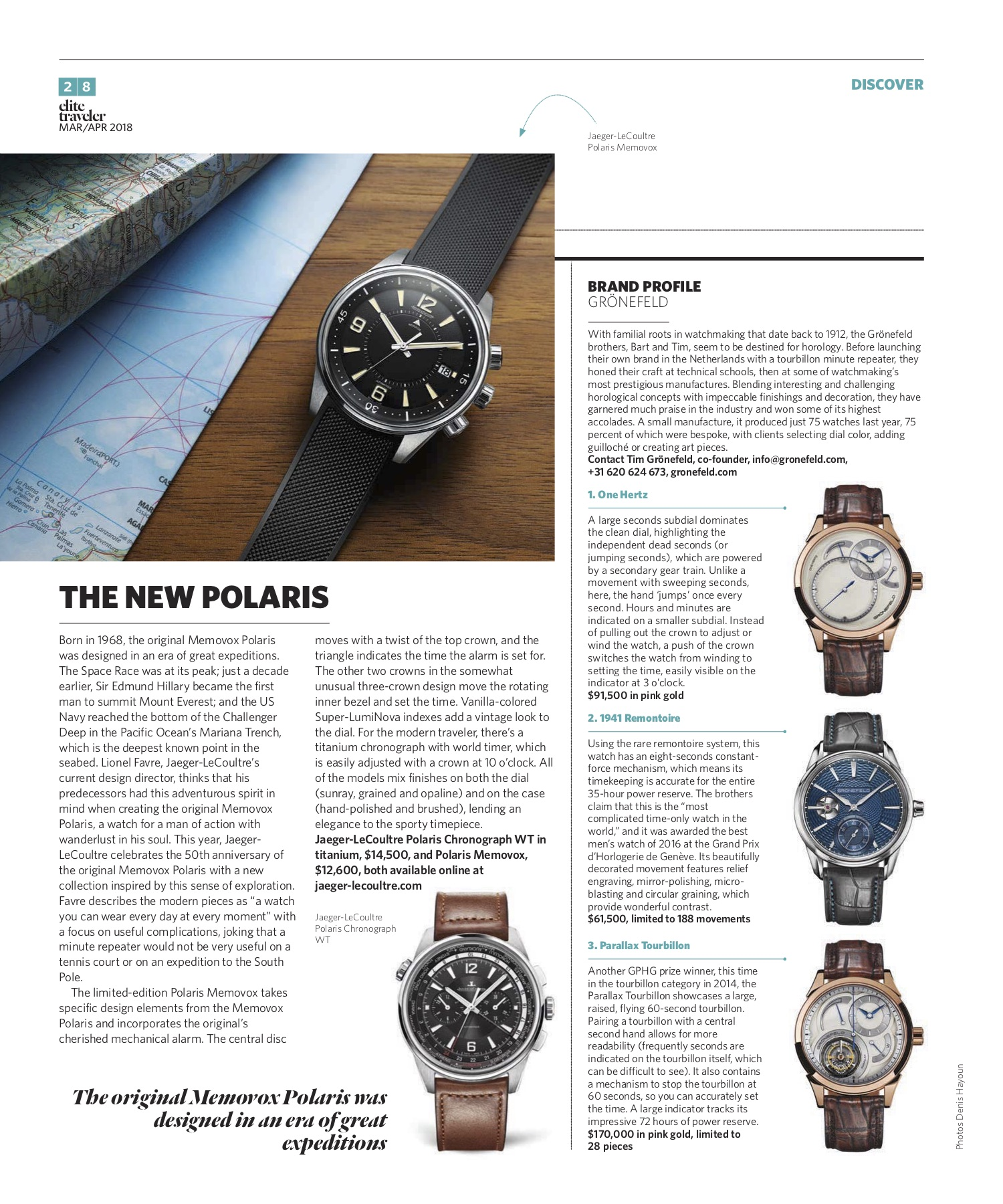 March/April 2018 | Jaeger-LeCoultre Polaris, Grönenfeld Profile