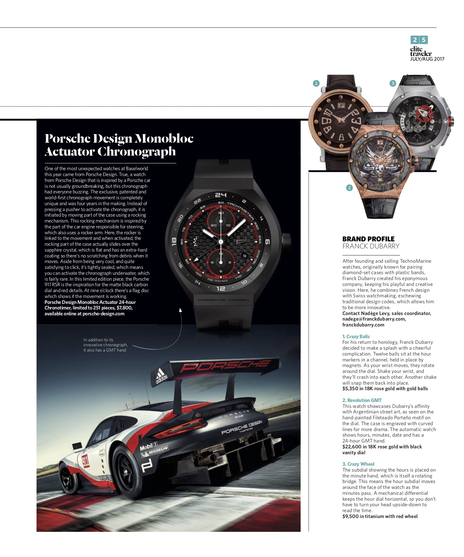 July/August 2017 | Porsche Design, Franck Dubarry Profile