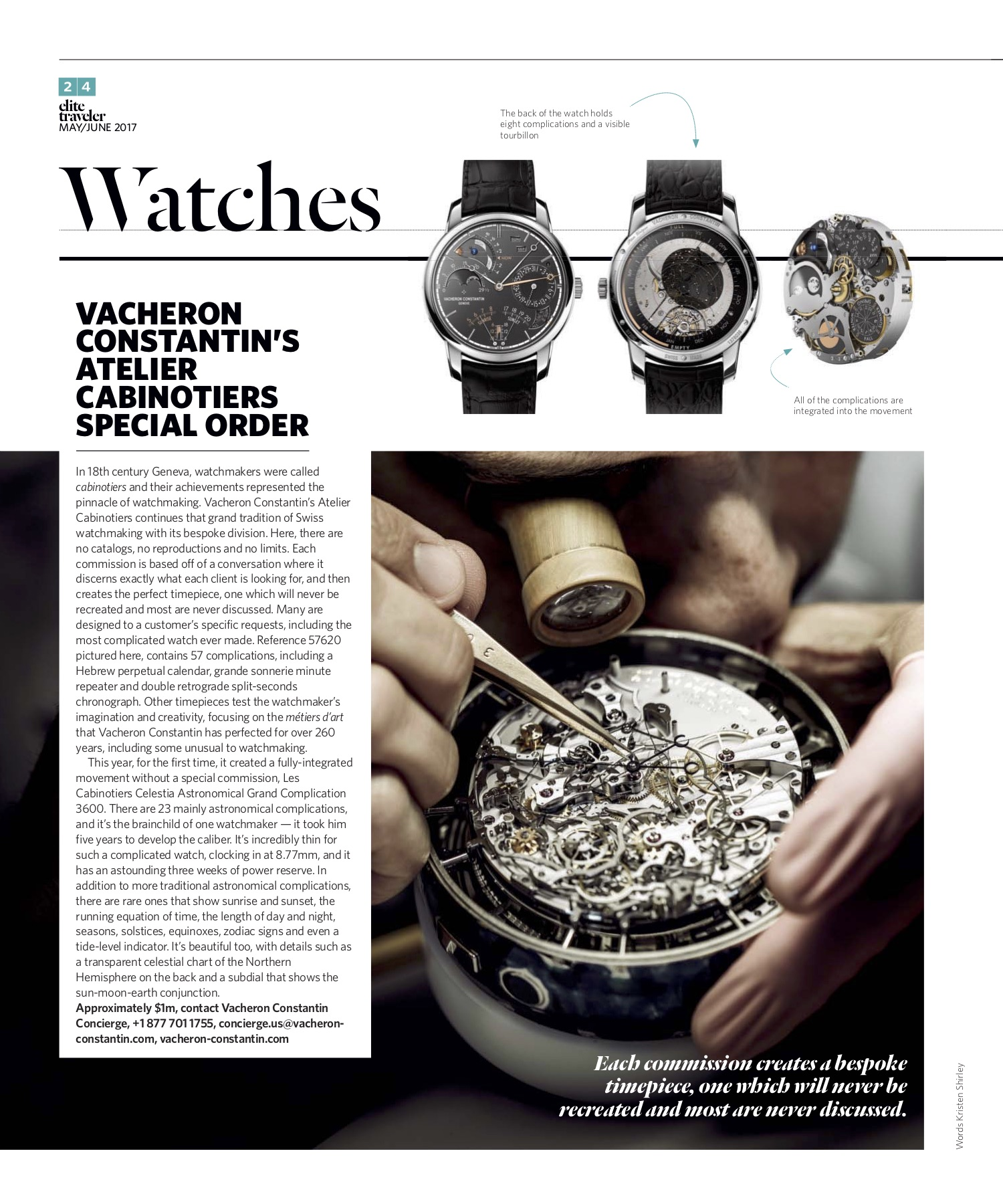 May/June 2017 | Vacheron Constantin Atelier Cabinotiers