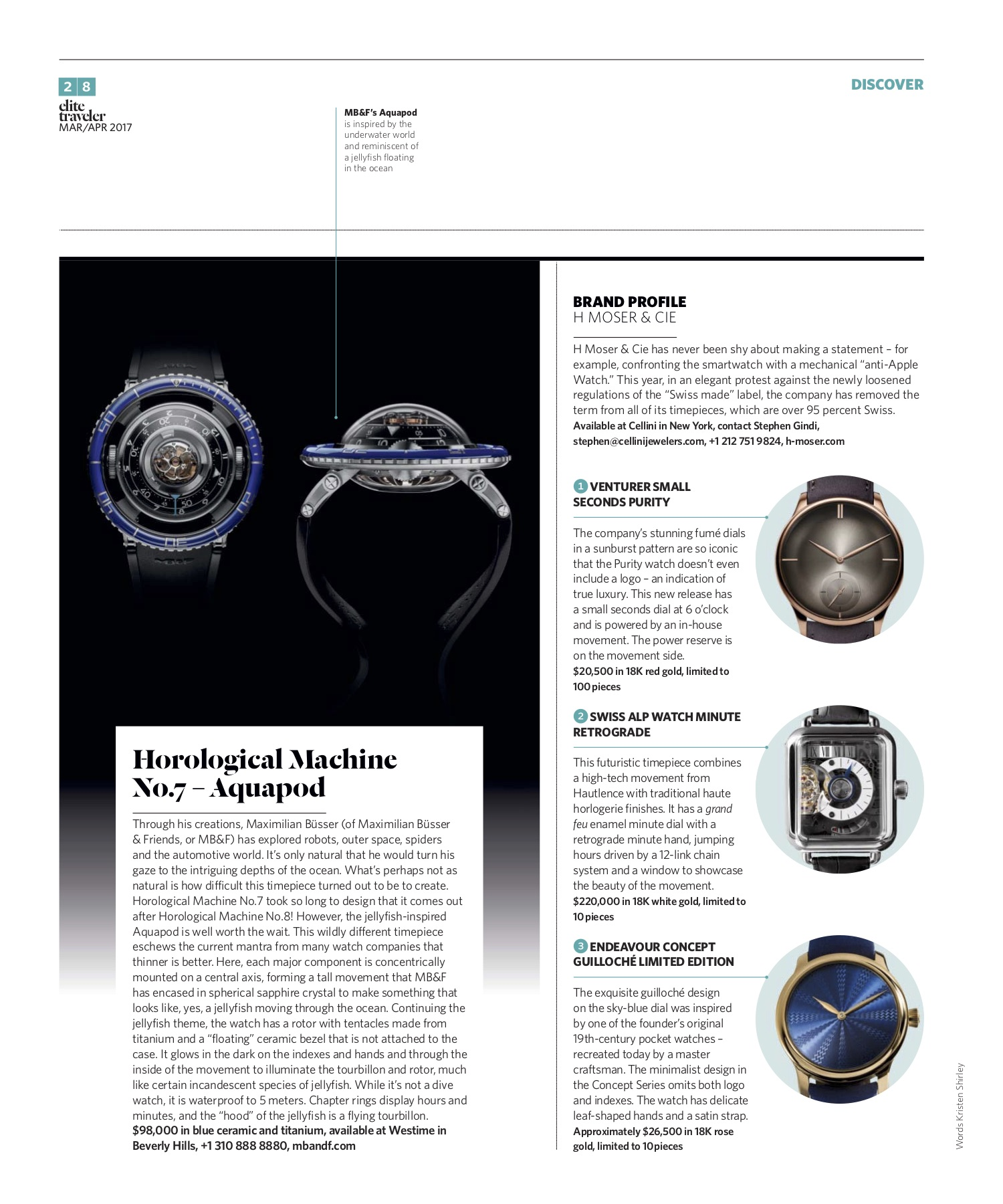 March/April 2017 | MB&F Aquapod, H Moser & Cie Profile