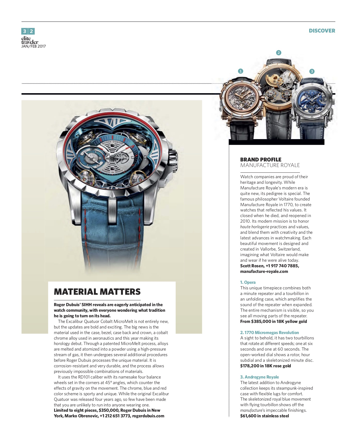 January/February 2017 | Roger Dubuis Excalibur Quatuor Cobalt MicroMelt, Manufacture Royale Profile