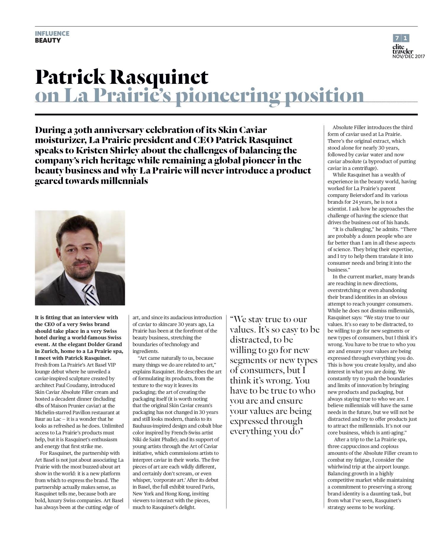 Patrick Rasquinet, CEO of La Prairie