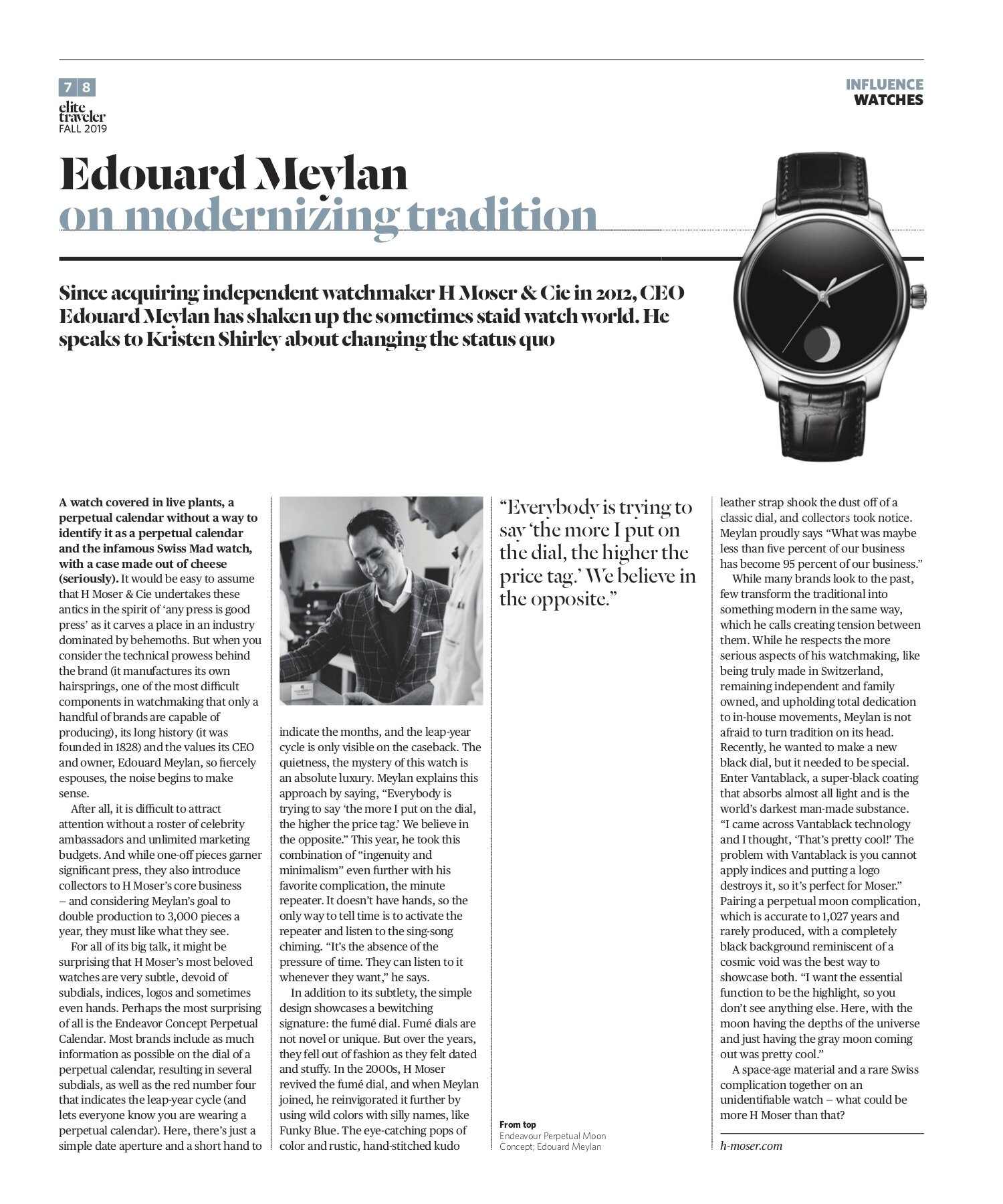 Edouard Meylan, CEO of H Moser & Cie