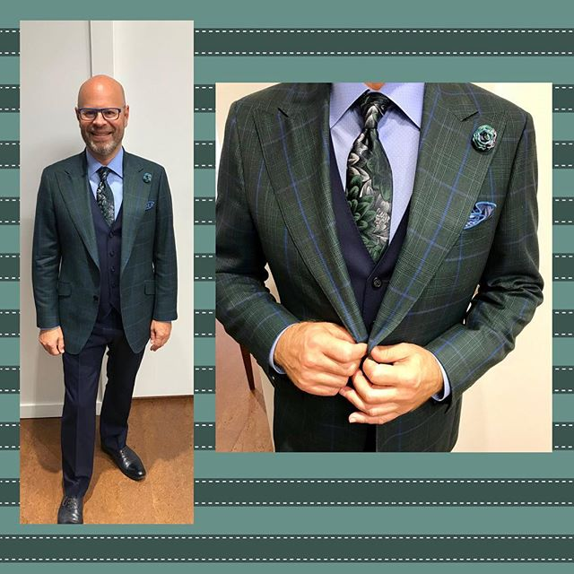 Phew!  Day 12 of our #wardrobemath challenge and Blair is still at it with another new look.  Today he pairs his green check jacket with the vest and pant from his navy suit. . . . #suitandtie #peaklapel #patternmixing #checksuit #navysuit #floraltie #customsuits #vancityvogue #bespoke #ootd #dapper #stylishmen #dailyhivestyle