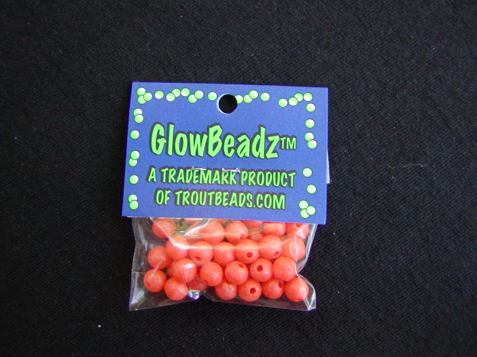 "Orange ""Glow in the Dark"" Beads. 40 count bag, 6mm = Out of stock"