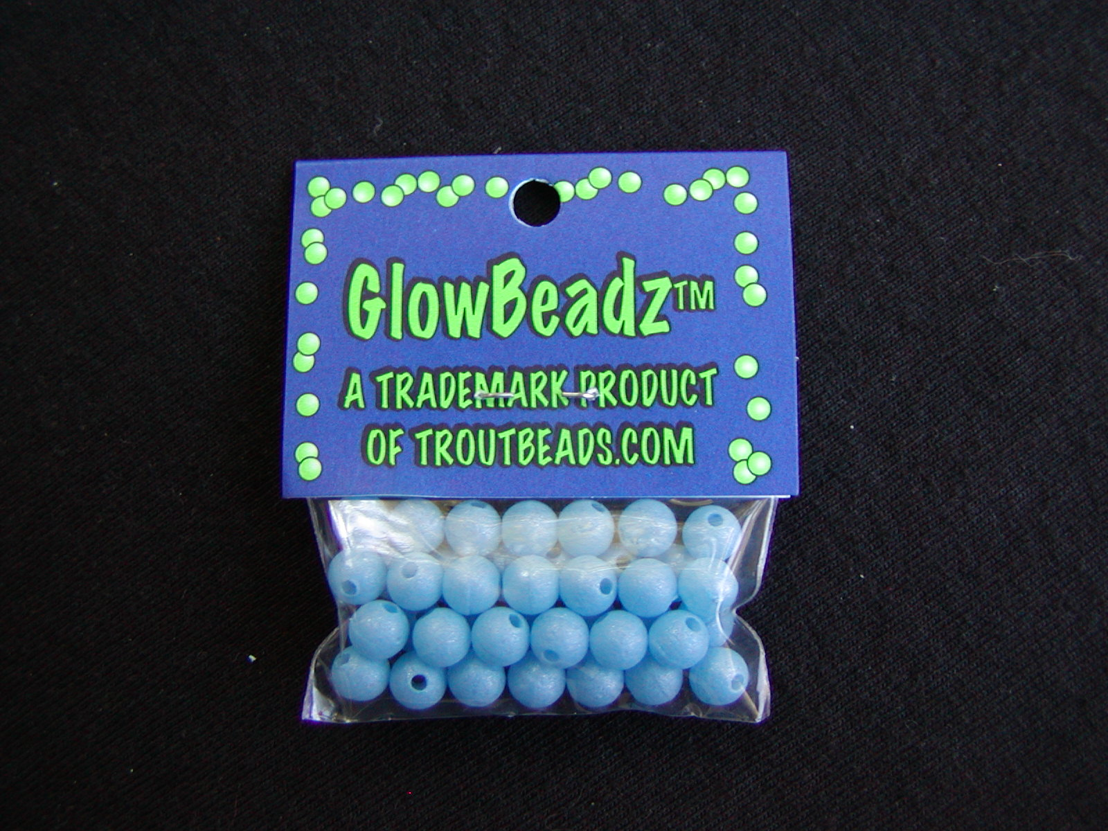 "Blue ""Glow in the Dark"" Beads. 40 count bag, 6mm = $3.75."