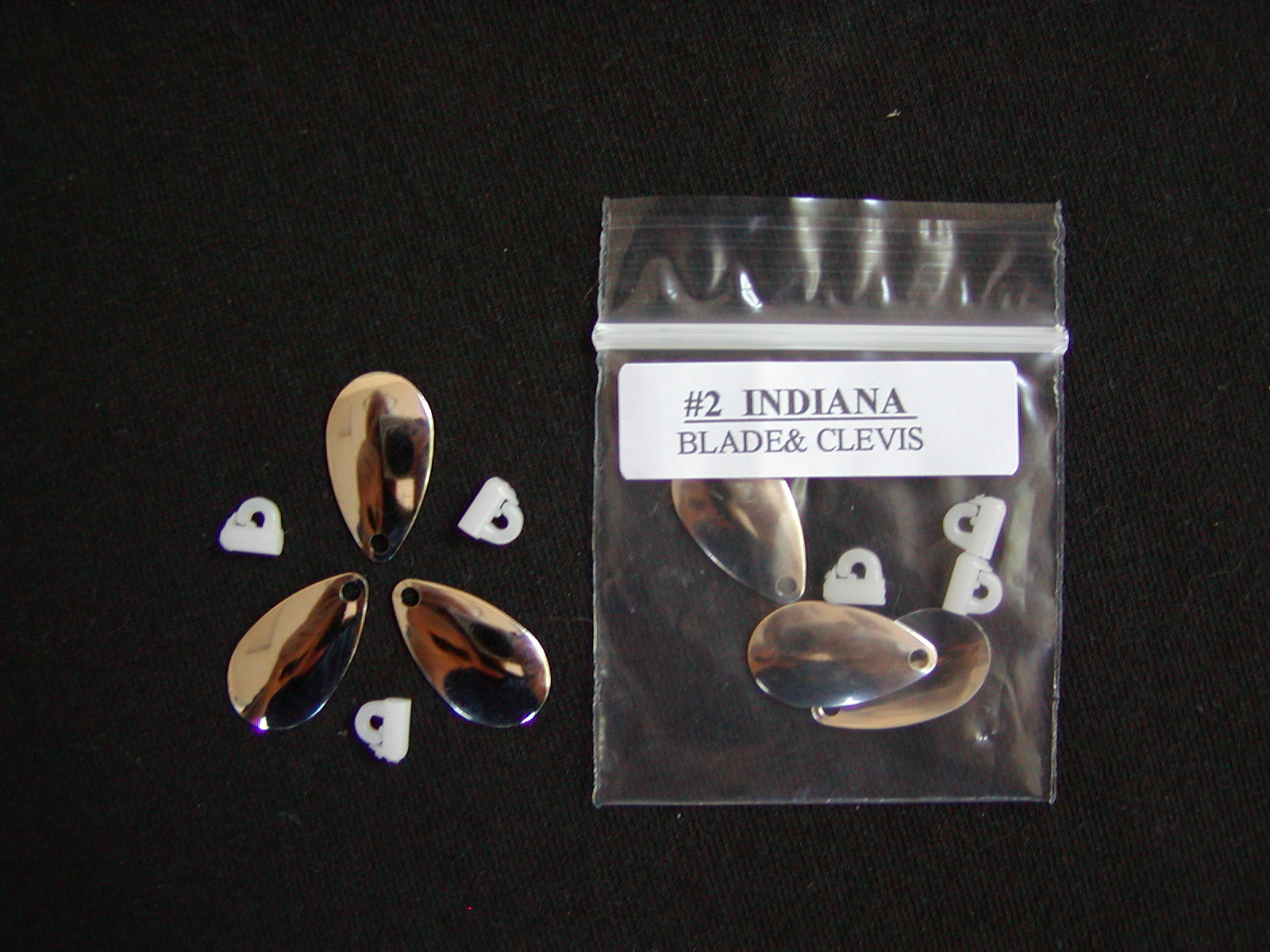 #2 Coho Spinners & Clevis', 3/pack$2.59  #2 Indiana Blade = 7/8 inch long X 7/16 inch wide.