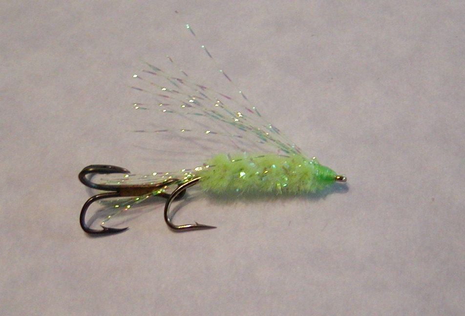 CHARTREUSE KOKANEE FLY:  For the times when a hot green color is what the fish want.