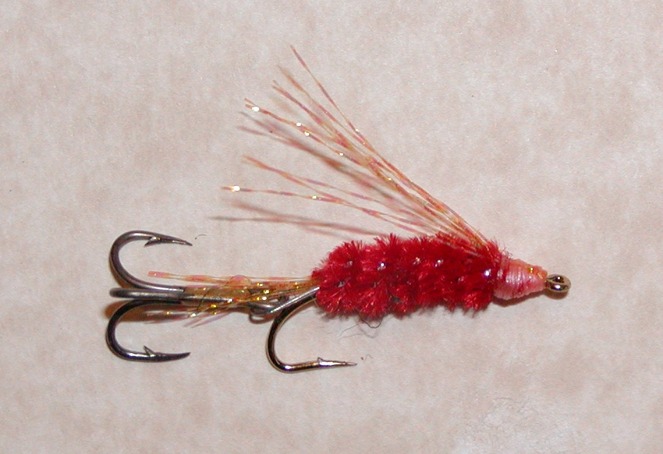 FIRE RED:  This fly has a UV Orange wing and tail as well as a silver core to the chenille to add a hint of flash.  The body turns charcoal gray at depth.