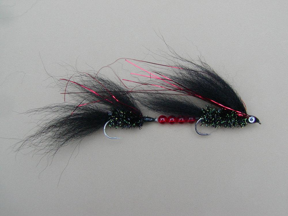 Tandem #2 Arctic Fox Trolling Fly Black/Red Flash