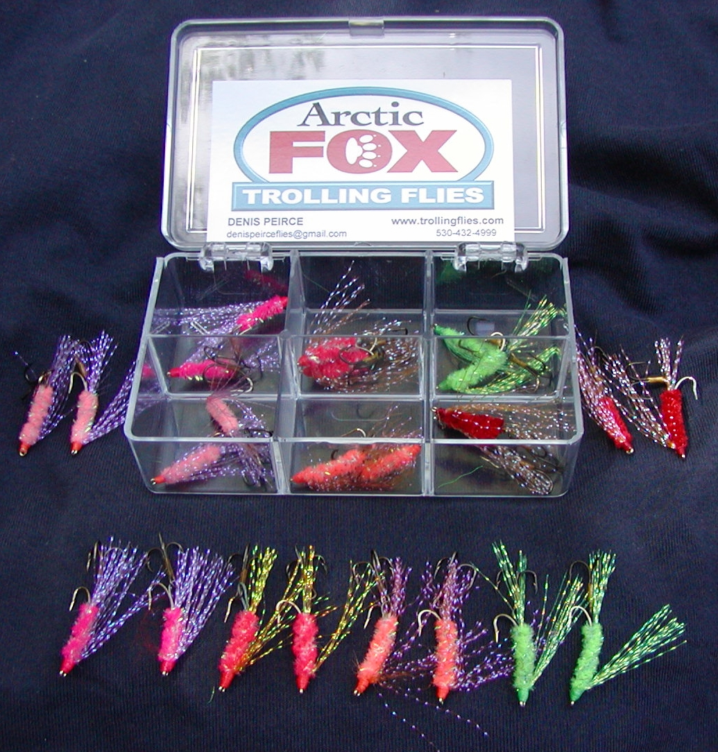 12 Fly Boxed Selection. Contains 2 each of 6 of my most popular colors: Hot Pink, Shell Pink, Flo Orange, Fire Orange, Chartreuse, Fire Red.