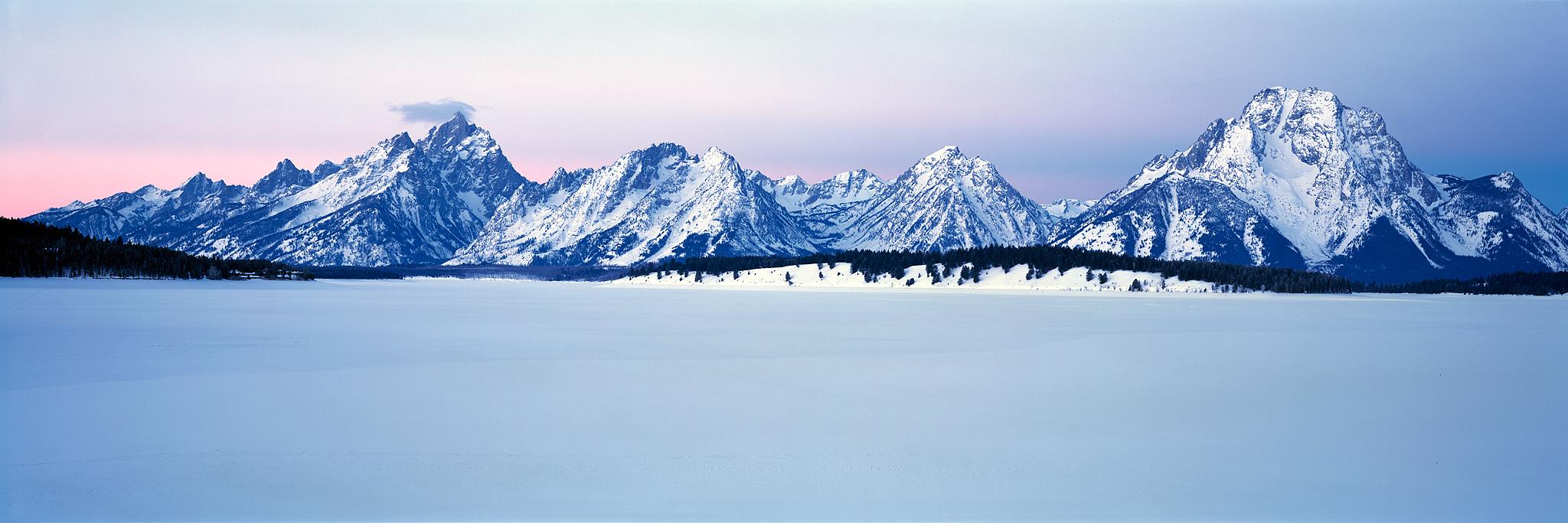Frozen lake during winter sunrise : Wyoming