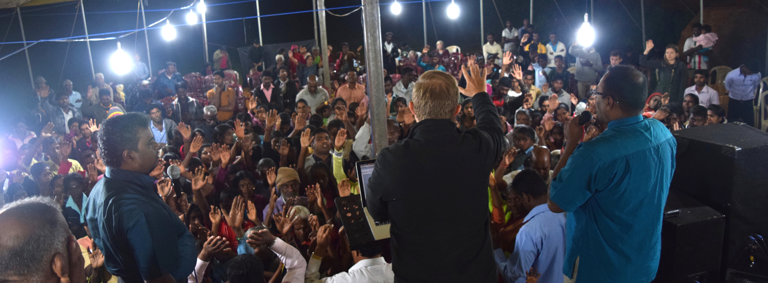 Praying for the sick at the crusade