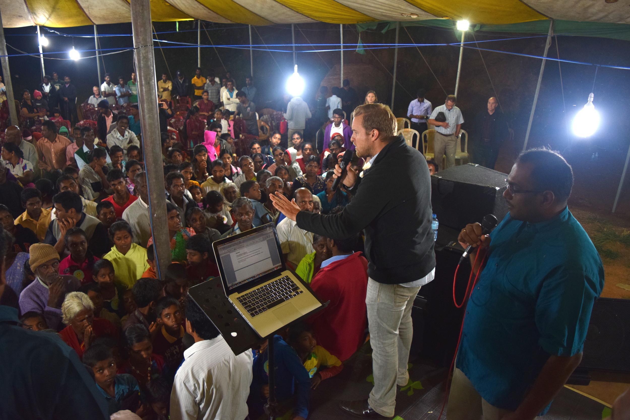Sharing the gospel at the crusade