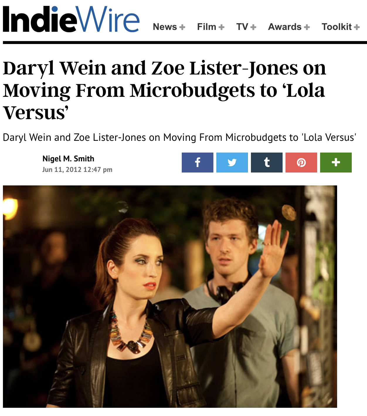 "OCT 30, 2014   INdiewire interview ""lola versus"""