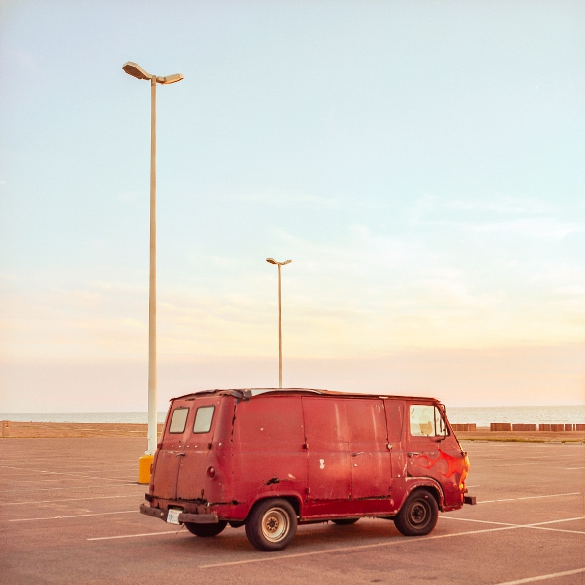 RED VAN WITH FLAME.