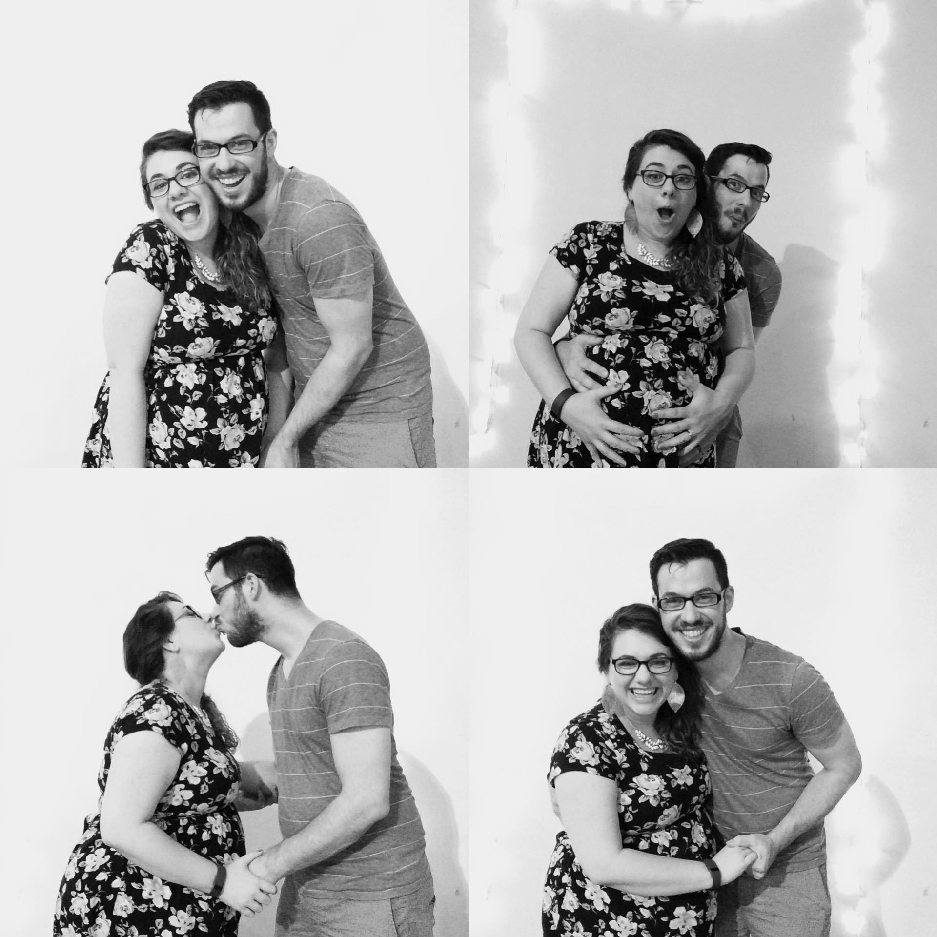 a Very Pregnant Tori and with Peter at an open house photo booth this summer