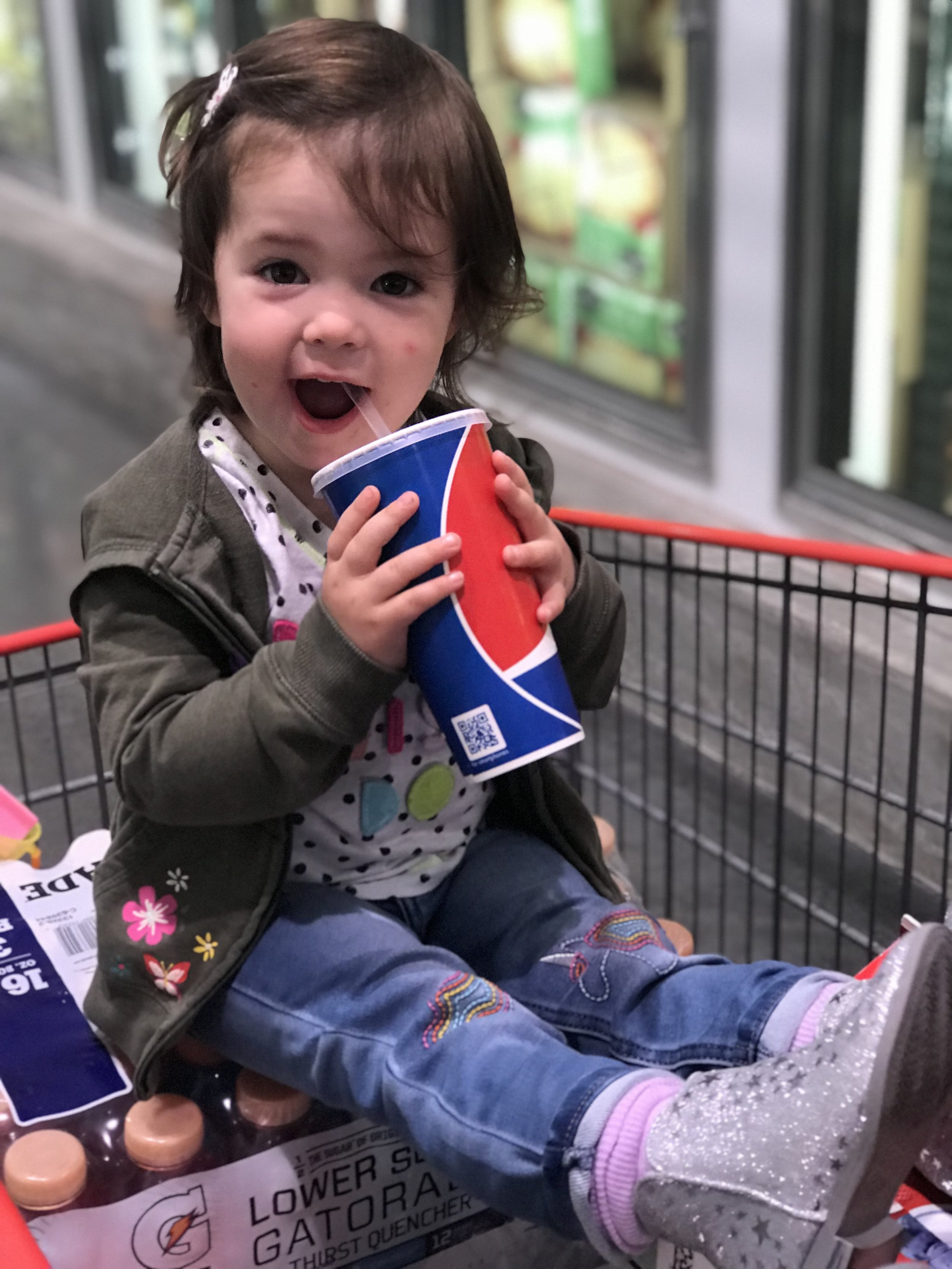 Costco Trip with her favorite sparkle boots (from Target, as she will tell you)