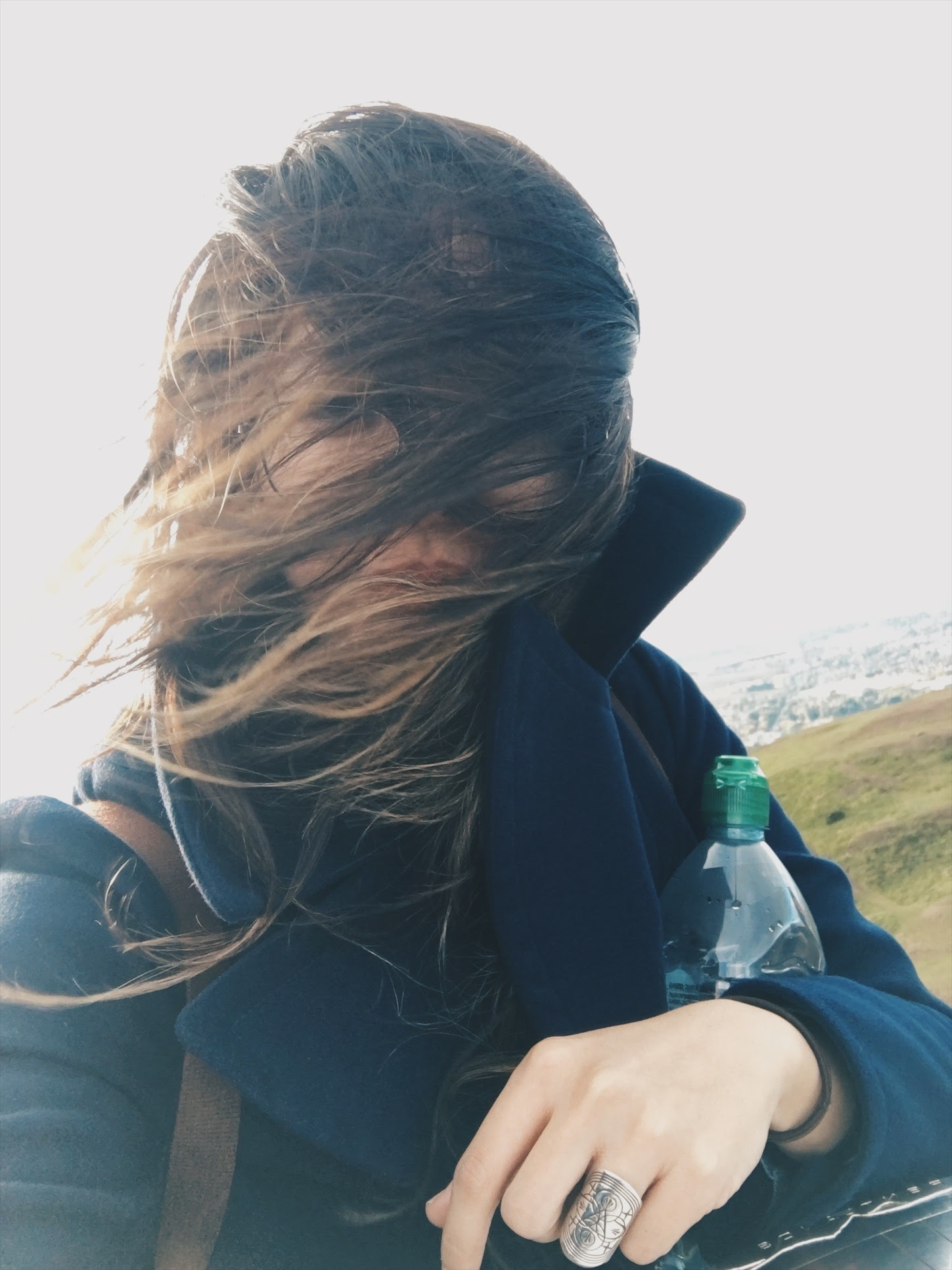 Went to Edinburgh - And all I got was this windy selfie taken at Arthur's Seat.