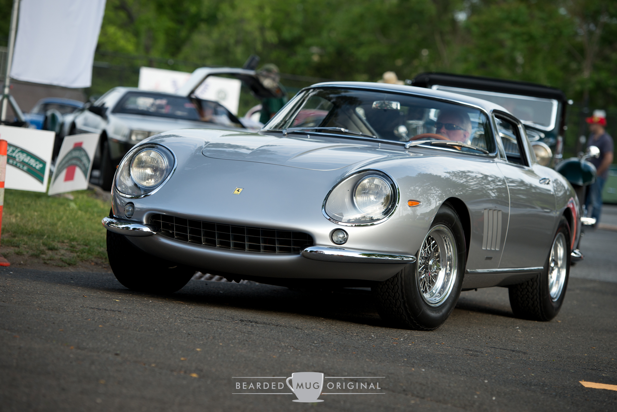 Wayne Carini entering the show grounds in his beautiful 1967 Ferrari 275 GTB/4.